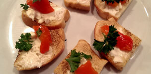 Toast Points with Roasted Red Pepper and Goat Cheese